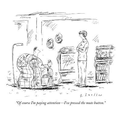 """""""Of course I'm paying attention?I've pressed the mute button."""" - New Yorker Cartoon-Barbara Smaller-Premium Giclee Print"""