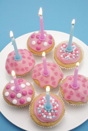 Of Muffin, Icing, Pink, Hearts, Chocolate Beans, Sugar Pearls, Candles, Burn, Detail, Blur-Nikky-Photographic Print