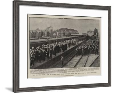 Off to the Front, the 2nd Queen's West Surrey Regiment Being Seen Off by Men of H M S Excellent--Framed Giclee Print