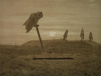 Offenes Grab, Griseille-Caspar David Friedrich-Giclee Print