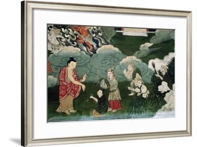 Offer of Handful of Grass, Detail from Roll Showing Scenes from Shakyamuni Buddha's Life, Tibet--Framed Giclee Print