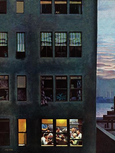 """Office Poker Party,"" August 18, 1945-John Falter-Giclee Print"
