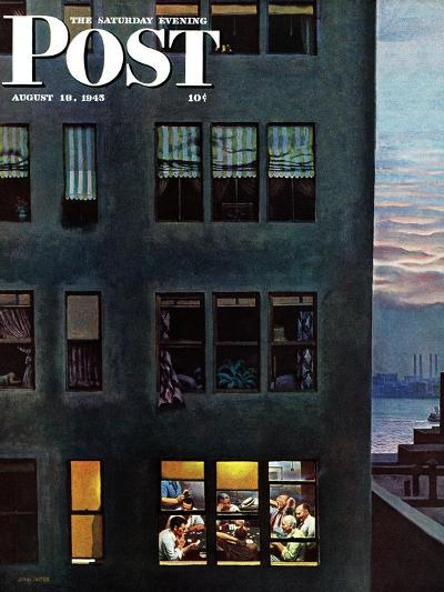 """""""Office Poker Party,"""" Saturday Evening Post Cover, August 18, 1945-John Falter-Giclee Print"""