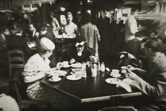 Office workers lunching in a restaurant, New York, USA, early 1930s-Unknown-Photographic Print