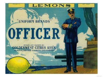 Officer Lemon Label - Tustin, CA-Lantern Press-Art Print