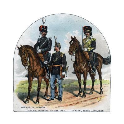 Officer of Hussars, Officer, Infantry of the Line, Gunner, Horse Artillery, 19th Century--Giclee Print