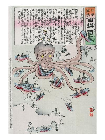 Officer on the Head of an Octopus Capturing Fish, Japanese Wood-Cut Print-Lantern Press-Art Print
