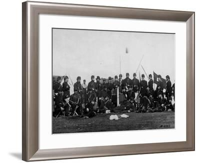 Officers in Training Gathered around Chief Major Albert Myer, Signal Corps' Georgetown Camp--Framed Premium Photographic Print