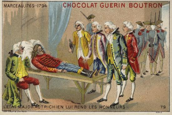 Officers of the Austrian Staff Saluting the Body of General Marceau--Giclee Print