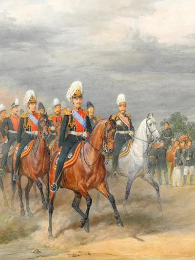 Officers of the Cavalry Mounted Regiment-Karl Karlovich Piratsky-Giclee Print