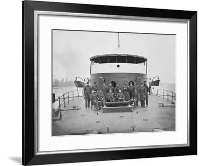 Officers on Board Monitor Uss Mahopac During the American Civil War-Stocktrek Images-Framed Photographic Print