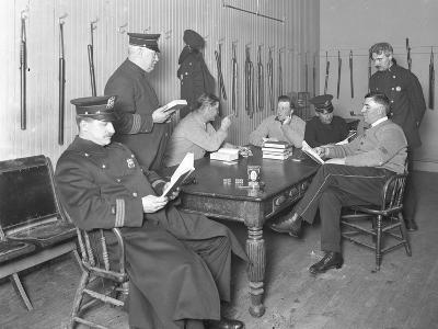 Officers Relaxing in an Unidentified Police Station, C.1913-14-William Davis Hassler-Photographic Print