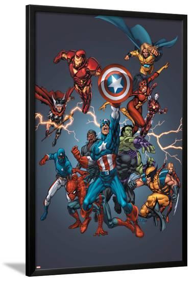Official Handbook: Avengers 2005 Cover: Captain America, Hulkling and Cage-Tom Grummett-Lamina Framed Poster
