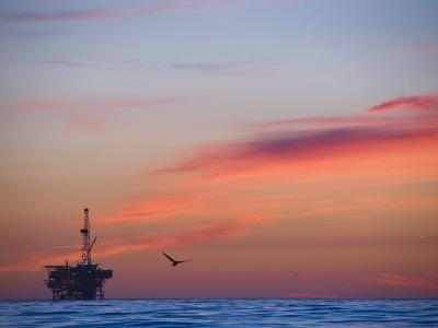 Offshore Oil and Gas Rig in the Pacific Ocean at Sunset-James Forte-Photographic Print