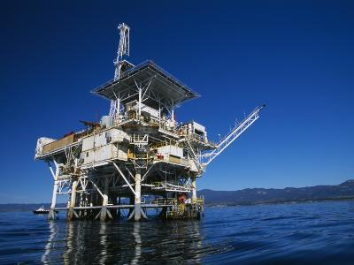 Offshore Oil and Gas Rig in the Pacific Ocean-James Forte-Photographic Print
