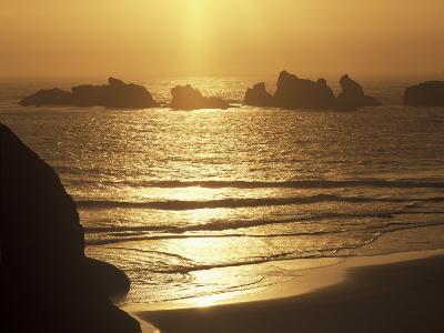 Offshore Seastacks and Sunset, Bandon Beach State Park, Oregon, USA-Adam Jones-Photographic Print