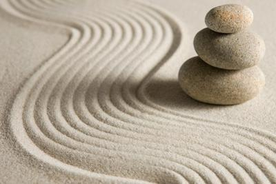 Stack of Stones on Raked Sand by og-vision
