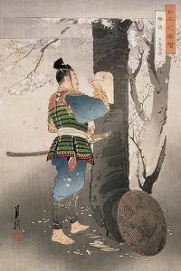 Kojima Takanori Writing a Poem on a Cherry Tree, from the Series, 'Pictures of Flowers of Japan',… by Ogata Gekko