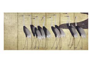 Cranes, Japanese Edo Screen Painting by Ogata Korin