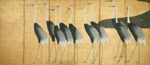 Six-Panel Screen Depicting Cranes, Edo Period by Ogata Korin