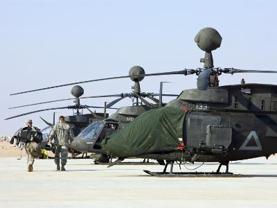 Oh-58D Kiowa Warrior Helicopters Parked at Camp Speicher, Iraq--Photographic Print