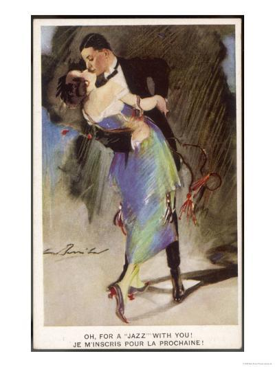 Oh for a Jazz with You!, Two Dancers Kiss as They Dance--Giclee Print