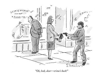 """""""Oh, look, dear?crime's back!"""" - New Yorker Cartoon-Danny Shanahan-Premium Giclee Print"""