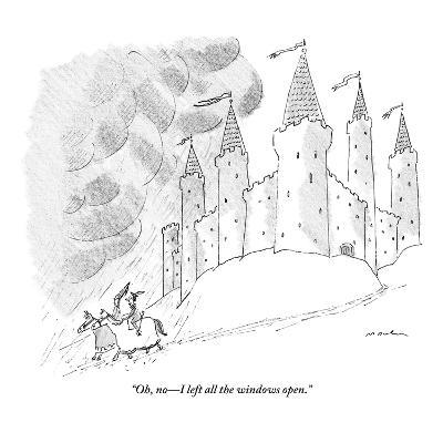 """Oh, no?I left all the windows open."" - New Yorker Cartoon-Michael Maslin-Premium Giclee Print"
