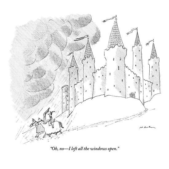 """Oh, no?I left all the windows open."" - New Yorker Cartoon-Michael Maslin-Premium Giclee Print"