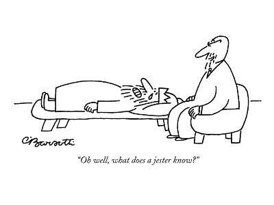 """""""Oh well, what does a jester know?"""" - New Yorker Cartoon-Charles Barsotti-Premium Giclee Print"""