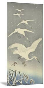 Descending Egrets by Ohara Koson