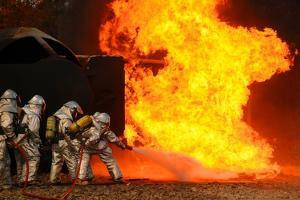 Ohio Air National Guardsmen Extinguish an Aircraft Fire in Training Exercise, 2010