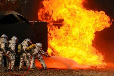 Ohio Air National Guardsmen Extinguish an Aircraft Fire in Training Exercise, 2010--Photo