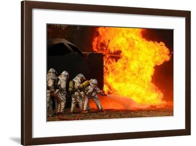 Ohio Air National Guardsmen Extinguish an Aircraft Fire in Training Exercise, 2010--Framed Photo