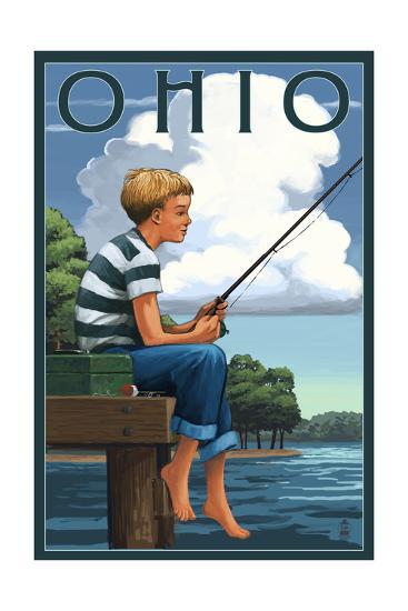 Ohio - Boy Fishing-Lantern Press-Art Print