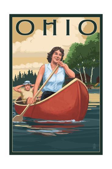 Ohio - Canoers on Lake-Lantern Press-Art Print