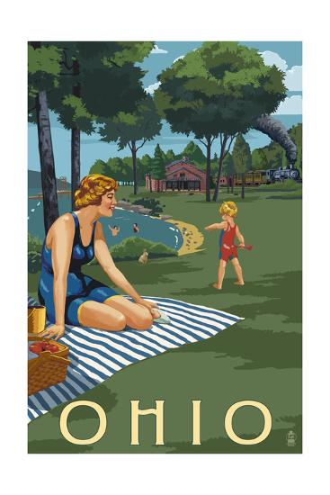 Ohio - Lake and Picnic Scene-Lantern Press-Art Print