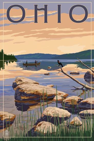Ohio - Lake Sunrise Scene-Lantern Press-Art Print