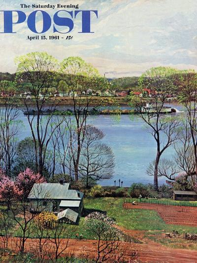 """Ohio River in April,"" Saturday Evening Post Cover, April 15, 1961-John Clymer-Giclee Print"