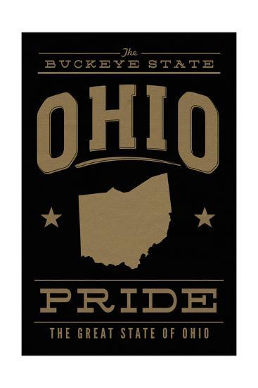 Ohio State Pride - Gold on Black-Lantern Press-Art Print
