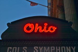 Ohio Theater marquee theater sign advertising Columbus Symphony Orchestra in downtown Columbus, OH