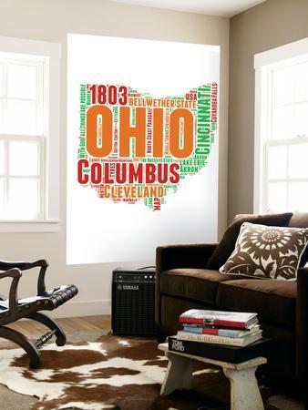 Ohio Word Cloud Map Wall Mural By NaxArt | Art.com