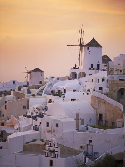 Oia (Ia) Village and Windmill, Santorini, Cyclades, Greek Islands, Greece, Europe--Photographic Print