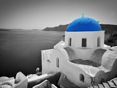 Oia Town on Santorini Island, Greece. Black and White Styled with Blue Dome of Traditional Church O-Michal Bednarek-Photographic Print