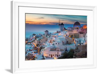 Oia Village at Night, Santorini-neirfy-Framed Photographic Print
