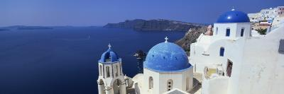 Oia with Blue-Domed Churches and Whitewashed Buildings, Santorini, Cyclades, Greek Islands, Greece-Lee Frost-Photographic Print