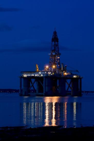 Oil Drilling Rig At Night, North Sea-Duncan Shaw-Photographic Print