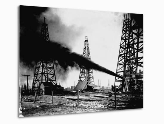 Oil Gushing from Spindletop Hill in Beaumont, Texas--Metal Print