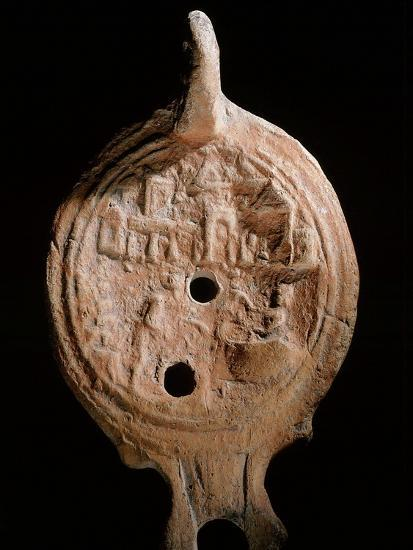 Oil lamp, Ancient Egyptian, Ptolemaic period, 305-30 BC-Werner Forman-Giclee Print