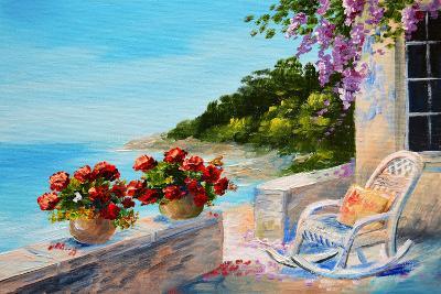 Oil Painting - Balcony near the Sea-max5799-Art Print